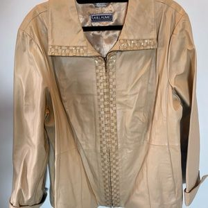 Tan Leather Jacket with gold details - NWOT